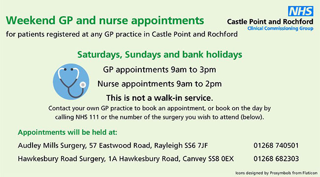Weekend GP and Nurse Appointments